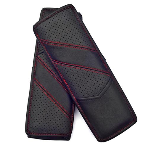 Cuero Real de lujo asiento de automóvil cinturón de seguridad cubre decoración del coche 2 unids - negro