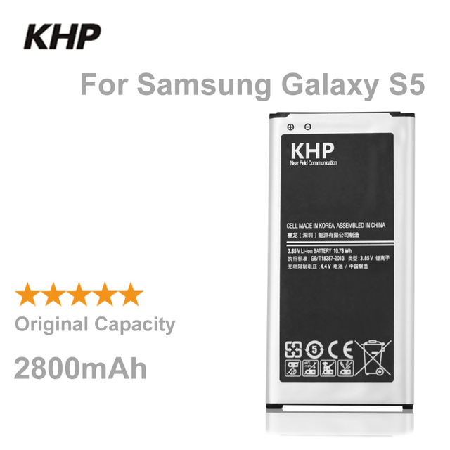 100% Original Brand KHP Phone Battery For Samsung Galaxy S5 G900S G900F G9008V G9006V NFC Built-in Replacement Mobile Batteries