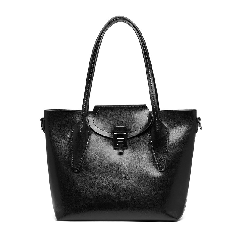 Ladies new retro portable bag oil wax leather tote bag tide leather large capacity cross section shoulder Messenger bagLadies new retro portable bag oil wax leather tote bag tide leather large capacity cross section shoulder Messenger bag