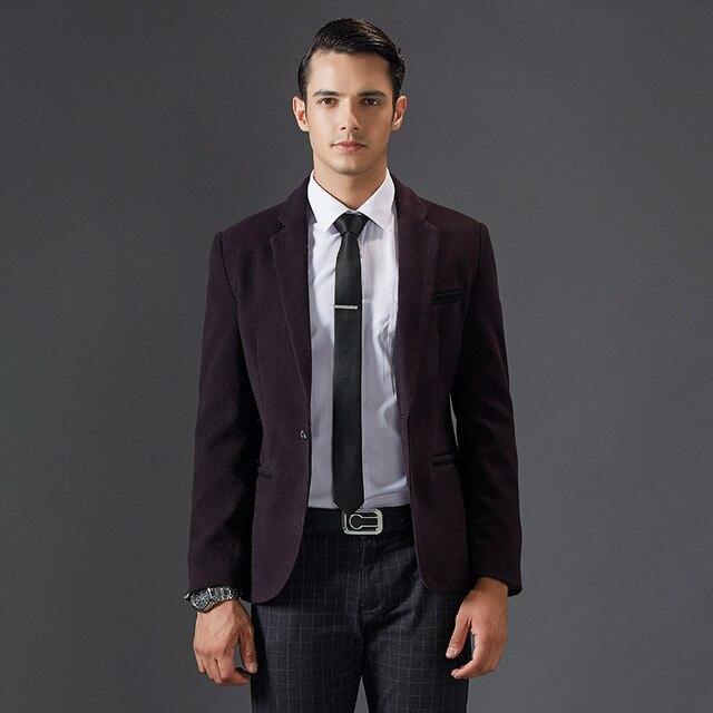2016 Осень Новый Мода Slim Fit Blazer Ceket Хорошее Качество Красное вино мужская Пиджаки И Куртки Костюм