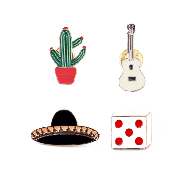 Enamel Dice guitar UFO cactus black hat Brooches and Pins set Badge Cute Brooch For Girls Chidren Fashion Clothing Accessories