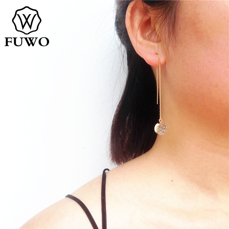 FUWO Round Aura Druzy Threader Earrings With 24K Gold Filled Minimalist Design Natural Drusy Stone Earrings For Women ER026