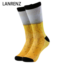 2017 golden beer printing Men and women fashion Funny socks 3d printed socks 200 knitting oil painting compression sock