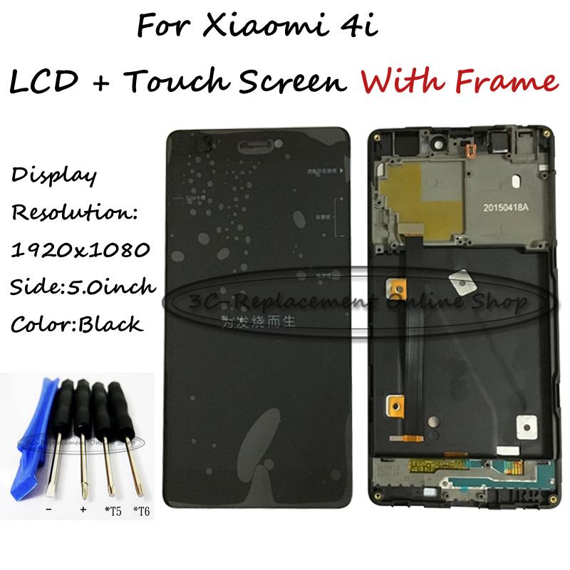 Prix pour Noir LCD + TP + Cadre Pour Xiaomi Mi 4i mi4i m4i LCD affichage avec Écran Tactile Digitizer Assemblée Smartphone Livraison gratuite + outils