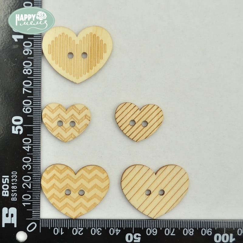 Happymems Wood Shapes Cute Heart 24pcs Natural Wood Heart DIY Crafts ...