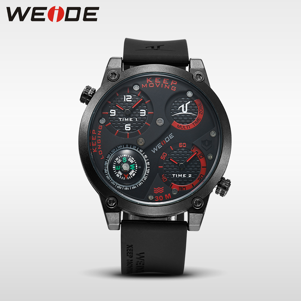 WEIDE Fashion Casual Brand Black Silicone Big Dial Waterproof Sport Watches for Men analog  Quartz Watch Relogios Masculinos goblin shark sport watch 3d logo dual movement waterproof full black analog silicone strap fashion men casual wristwatch sh165
