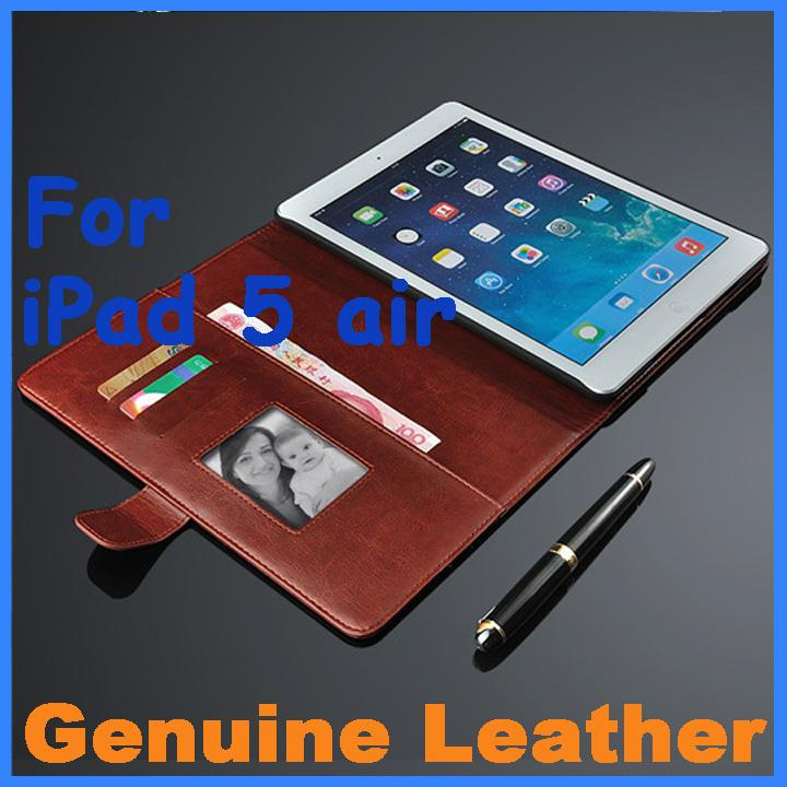 Genuine Leather Case For Apple ipad 5 air Flip Thin Leather Case For Apple ipad5 air Case Tablet PC Sleeve, With Stand Holster