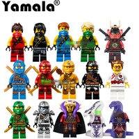 15PCS Lot Compatible Legoe Ninjagoes Cole Kai Jay Lloyd Nya Skylor Zane Pythor Chen Building Blocks