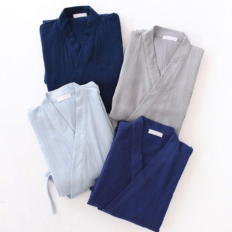 Summer New Unisex Thin Robe Loose Men And Women Japanese Style Bathrobe 100% Cotton Craped Sleepwear Sleeprobe Home Leisure Wear
