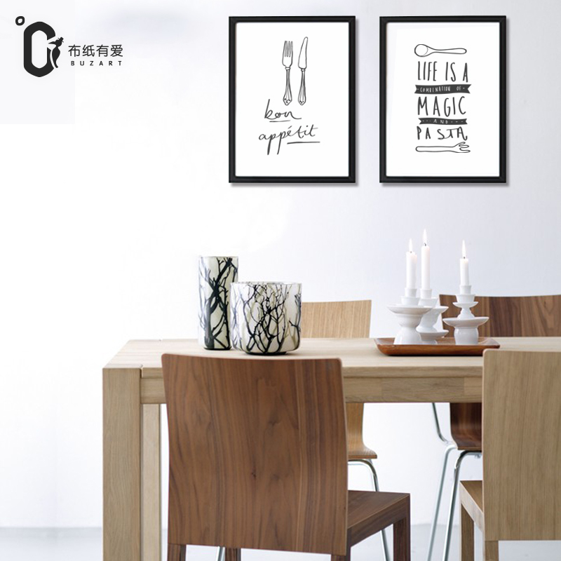 Mes en vork Moderne zwart-wit print poster Nordic interieur Canvas - Huisdecoratie - Foto 5