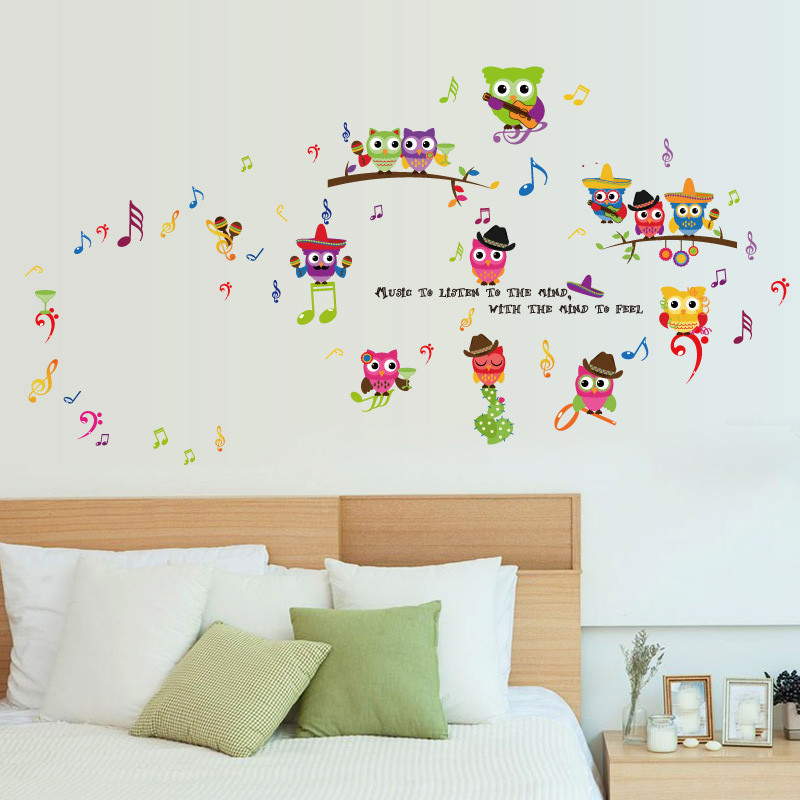 Wallpaper Sticker Wall Stickers Music Owl Birds Branch Removable Kids Decor Mural Stickers Decal Wallpapers For Living Room B#