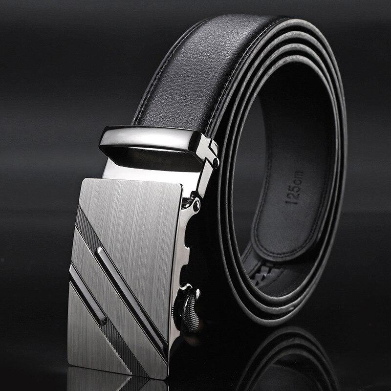 high quality cowhide genuine leather belt for men jeans black luxury designer brand automatic buckle belt strap