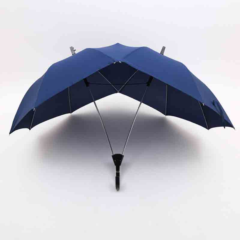 Creative fashion two-pole couple umbrella pure color semi-automatic high-end business umbrella double top conjoined umbrella