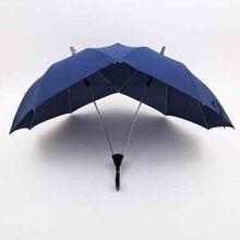 Creative fashion two-pole couple umbrella pure color semi-automatic high-end business double top conjoined