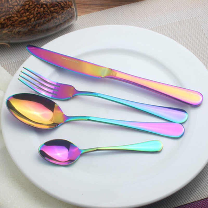 1pc/ 4pcs Dinner Wedding Travel Cutlery Spoon Stainless Steel Fork Scoops Silverware Set QJ888