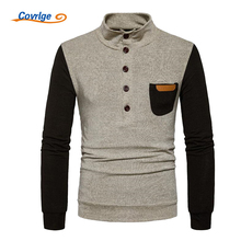 Covrlge Men's Sweater 2018 Spring New Turtleneck Knitting Fashion Patchwork Pocket Casual Pullover Male Brand Clothing MZL032