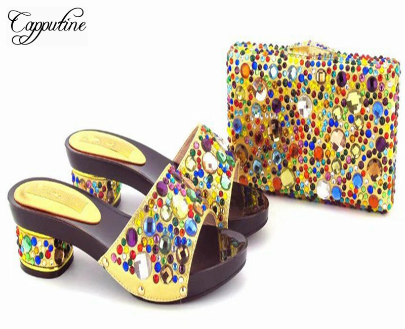 Capputine New Fashion Multicolour Rhinestone Shoes And Bag Set Italian Style Woman Middle Heels Shoes And Bag Set For Party capputine new arrival italian rhinestone high heels shoes and bag set fashionable summer woman shoes and handbag set for party