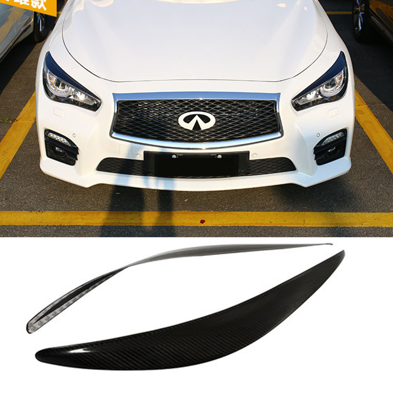 Q50 Carbon Fiber Car Headlight Eyebrow Cover Eyelid Trim Sticker for Infiniti Q50 2013-2015