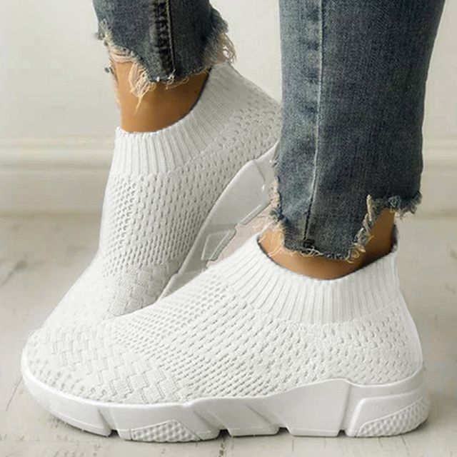 Women Shoes Plus Size 42 Sneakers Women Summer Gym Shoes 2019 Breathable Flyknit White Sneakers Zapatillas Mujer Casual Krasovki