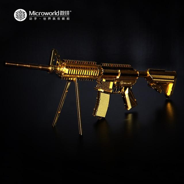 Microworld Carbine Gun Arma Modelo 3D Puzzle Metal 21 CM M4A8 G001 DIY 3D Jigsaw Brinquedos de Corte A Laser