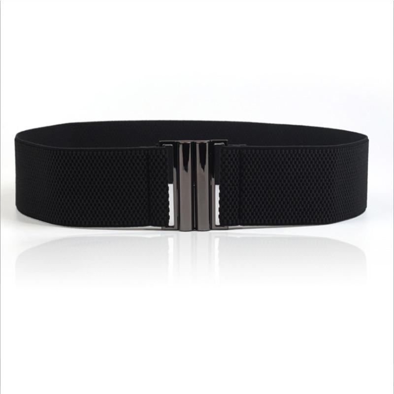 Free Shipping New Fashion Lady's Wide Elastic Belt Leather Belt Double Metal Buckle Waistband Stretchy Women Waist Belt