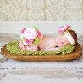 Fotografia bebê recém-nascido adereços de roupas infantis 0-6 meses crochet malha flor bonito traje fotografia cap chapéu chuveiro conjunto presente