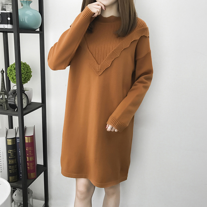 Spring Winter Women Oversized Sweater Dress Turtleneck Long Sleeve Maternity Lady Loose Pullovers Sweaters Plus Size L-3XL L1586