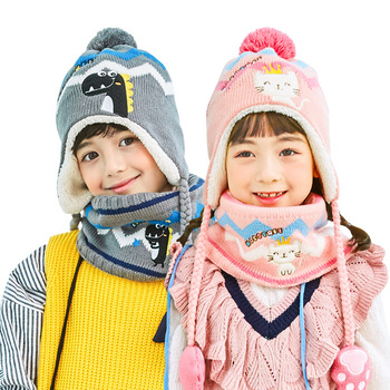 2019 New Kids Winter Warm Hats Scarf For Baby Boys Girls Fur Ball Pom Hat O-Collar Scarf Winter Knit Crochet Beanie Cap Gloves men and women children s woolen hats knitted thickened baby beanie new fake fur ball removable leisure outdoors warm winter cap