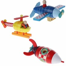 New Wood Magnetic Rockets Plane Helicopter Toy Transportation Educational Toychina
