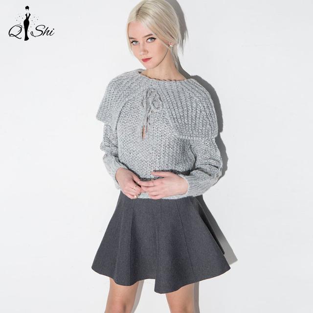Nueva Primavera Otoño Mujeres Suéter Gris Del Encogimiento de Hombros Delgado Cinturón de Lazo Suéteres Suéteres de Géneros de punto de Manga Larga