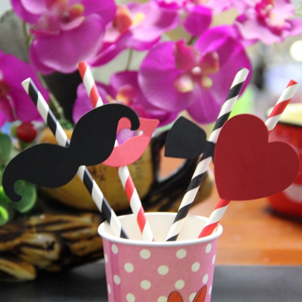 10PCS Black And Red Striped Beard Lips Sticker Paper Straws For ...