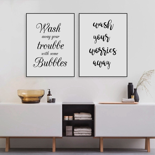 Wash Your Worries Away Quote Wall Art Canvas Print And Poster , Bathroom  Prints Canvas Painting
