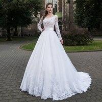 2018 Wedding Dress Plus Size Bridal Gowns Erosebridal Long Sleeve Lace Wedding Gown Button Back Vestido