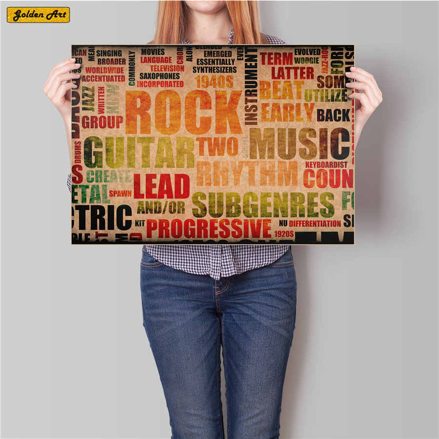 Musique Rock Band vintage kraft papier affiche barre café autocollant mural impression peinture salon affiches décoration de la maison 45.5x31.5cm