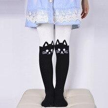 Весна Осень Обувь для девочек с рисунком милого кота Детские Колготки хлопковые колготки