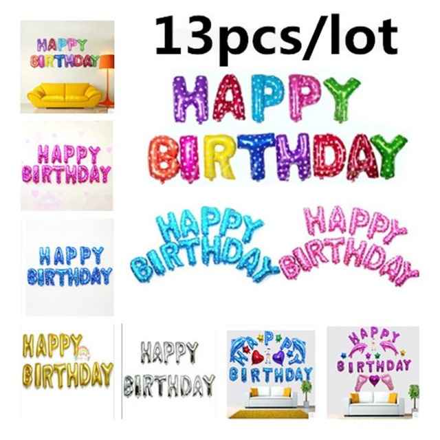 13 Teile Los Happy Birthday Balloons Party Dekoration Buchstaben Alphabet Aluminium Helium Ballon Folie Baby Kinder Luftballons In
