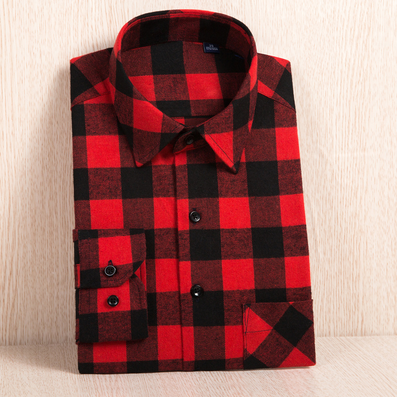 2020 New Men's Plaid Flannel Shirt Plus Size 5XL 6XL Soft Comfortable Spring Male Slim Fit Business Casual Long-sleeved Shirts 3
