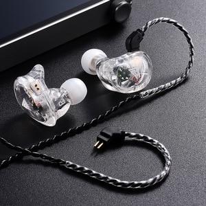 Image 4 - QKZ VK1 4DD 서브 우퍼 인 이어 이어폰 HIFI 매달려 귀 동축 휴대 전화 음악 밀 Eadphones 0.75MM 핀 케이블
