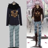 Japanese Anime One Piece Cosplay Costume Trafalgar Law Halloween Costumes Include Hat Custom Made Free Shipping