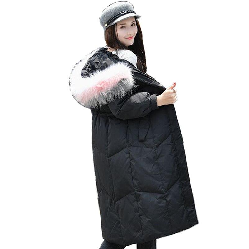Haute qualité femmes grand col en fourrure veste hiver femmes à capuche Parkas blanc canard vers le bas Long manteau femme neige chaud vers le bas Outwear