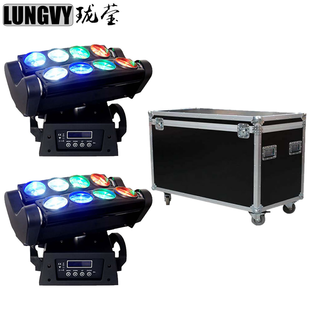 Free Shipping 2pcs/Lot Flight Case Packing 8x10w RGBW Led Par Spider Party Disco Stage Light Moving Head Beam Light