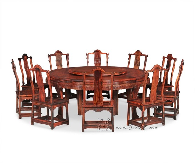 2.1M Round Table And 10 Chair Furniture Set Rosewood Dining Big Desk  Antique Solid Wood