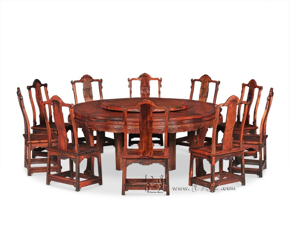 2.1M Round table and 10 Chair Furniture Set Rosewood Dining Big Desk Antique Solid Wood Hotel Coffee Tea Armchair Backed Annatto