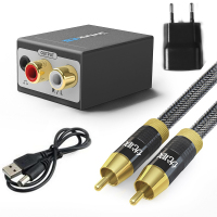 Unnlink Updated Digital To Analog Audio Converter SPDIF Optical Coaxial Fiber Toslink Signal To RCA Adapter