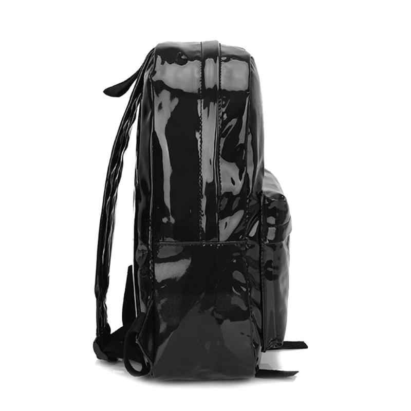 1pc/3 pçs rua preppy saco para homens mulheres mochilas holograma laser zíper de couro do plutônio adolescentes meninos meninas escola ombro sacos de livro