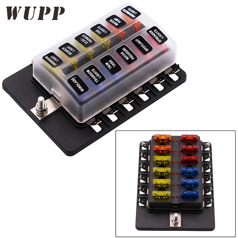 Auto Fuse Box Holder 12 Ways Circuit Blade Fuse Box 32V Terminal Block Holder Circuit Fuse Holder With Led Indicator And Sticker 1pcs universal car auto vehicles audio amplifier 1 in 2 ways out 60a fuse holder fuse box