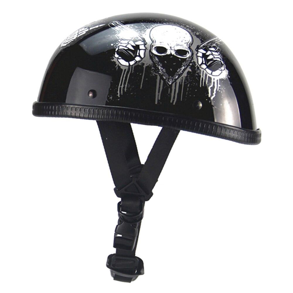 Unisex Motorrad Helm Retro Vintage Motorrad Open Face Biker Halbe Helm Deutsch Stil Cruiser Touring Chopper Schädel Helme