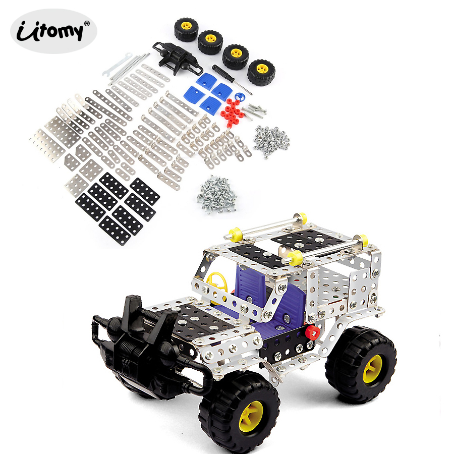 DIY Construction Cross-country Vehicle Metal Building Kit,Enlighten Assembly Metal Jeep Educational Toys With Tools Play Set
