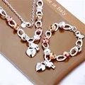 S010 925 conjuntos de jóias de prata para as mulheres de ouro coração Bloqueio encantos flor Pulseira Colar conjunto de jóias de ouro parelketting