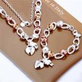 S010 925 silver jewelry sets for women golden heart Lock flower charms pendant Necklace Bracelet jewelry set gold parelketting